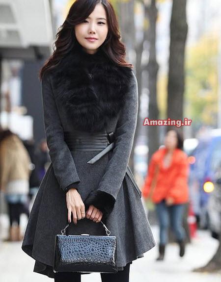 مدل پالتو یقه خز , پالتو دخترانه , پالتو کره ای