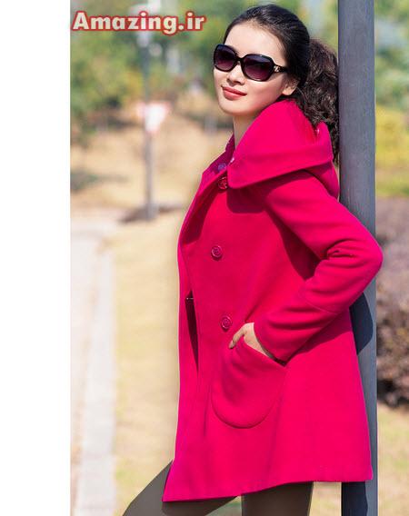 مدل پالتو قرمز , پالتو دخترانه , پالتو جدید کره ایی