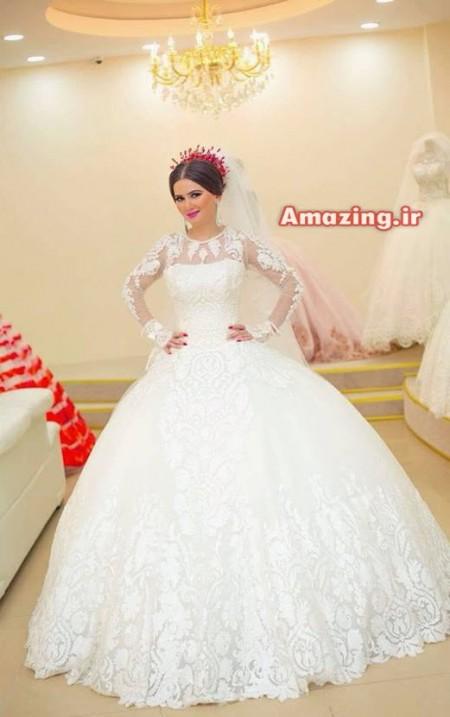 لباس عروس 95 , لباس عروس 2016 , مدل لباس عروس پفی , لباس عروس بلند